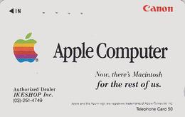 Télécarte Japon / 110-011 - Publicité Ordinateur - APPLE Computer - Rare Japan Phonecard Telefonkarte - 29 - Telecom Operators