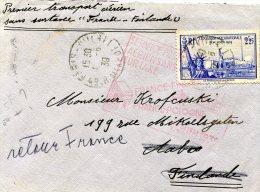 """FRANCE LETTRE 1er TRANSPORT AERIEN SANS SURTAXE """"FRANCE-FINLANDE"""" DEPART PARIS 1-6-39 ARRIVEE HELSINKI 2 VI 39 - 1927-1959 Briefe & Dokumente"""