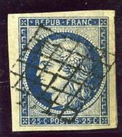 FRANCE N°4a Oblitéré Grille - Bord De Feuille - TTB Margé - VARIETE ,(Points Derrière La Tête)- SUP !!! - 1849-1850 Cérès