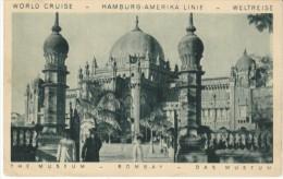 Hamburg-Amerika Line Cruise Ship Advertisement, Bombay Museum View India, C1920s Vintage Postcard - Passagiersschepen