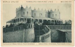 Hamburg-Amerika Line Cruise Ship Advertisement, Djibouti French Somaliland Governors Palace C1920s Vintage Postcard - Passagiersschepen