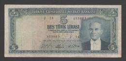 Turkey,Kemal Ataturk 1930(4-1-1965) Five Turk Lirasi,No´174,VG. - Turquie