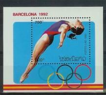 Mua869 SPORT OLYMPISCHE SPELEN ZWEMMEN OLYMPIC GAMES BARCELONA SWIMMING WASSERSPRINGEN STAMPS LAOS 1992 PF/MNH - Zomer 1992: Barcelona