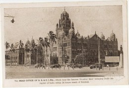 """Vintage Postcard, Head Office Of B.B. & C. I. Rly., Which Runs The """"Fontier Mail, Delhi, India (ref.# 2687se) - Inde"""