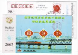 Electric Locomotive Train On Bridge,China 2001 Linyi Local Taxation Bureau New Year Greeting Pre-stamped Card - Trenes