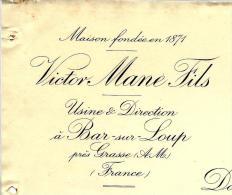 ENTETE SUR FACTURE VICTOR MANE FILS BAR SUR LOUP  ALPES MARITIMES 1930 PARFUMS  VOIR HISTORIQUE   BON ETAT - 1900 – 1949