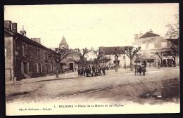 CPA ANCIENNE- FRANCE- BOLOGNE (52)- PLACE DE LA MAIRIE ET DE L'EGLISE EN HIVER- BELLE ANIMATION-  EPICERIE DU CENTRE - Frankreich