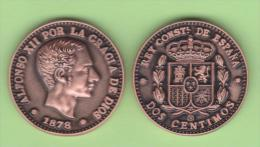 VERY RARE!!! Alfonso XII 2 Céntimos 1.878 Cobre KM#Pn14 SC T-DL-10.461 COPY Suiza. - [ 1] …-1931 : Royaume