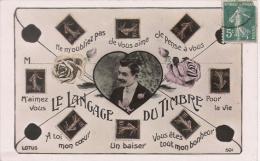 LE LANGAGE DU TIMBRE  501 CARTE FANTAISIE AVEC TIMBRES FRANCAIS SEMEUSES - Timbres (représentations)
