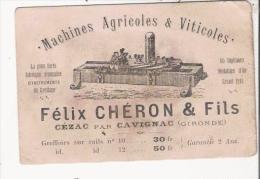 CARTE DE VISITE ANCIENNE ETS CHERON FELIX ET FILS  CEZAC PAR CAVIGNAC (GIRONDE) MACHINES AGRICOLES ET VITICOLES - Visiting Cards