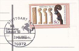 1993 COVER (card) Cannstatter Volksfest HORSE Pic EVENT Pmk Stuttgart Germany  KLOTZ VIOLIN Stamps Horses  Music - Horses