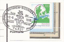 1995 COVET (card) BIETIGHEIM HORSE MARKET EVENT Pmk GERMANY Stamps Horses - Horses