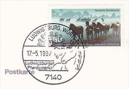 1987 COVER Card EVENT FERRIS WHEEL & HORSE Pmk  Ludwigsburger GERMANY Stamps Horses Carnival Fair - Carnival