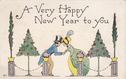 A Very Happy New Year To You, Couple Shaking Hands, Decorated Trees, 00-10s - New Year