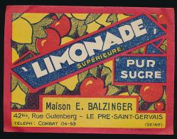 Etiquette : Limonade Supérieur Pur Sucre , Balzinger, Pré Saint-Gervais - Non Classificati