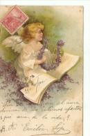 ANGEL TOCANDO LA LIRA AÑO 1902  RARISIMA CIRCULADA ARGENTINA A STA EMILIA CASATI OHL - Engelen
