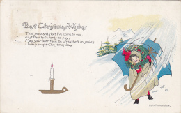 Best Christmas Wishes, Poem, Lit Candle, Girl In The Snow Holding On Tightly To Large Blue Umbrella, Wreath, 00-10s - Christmas