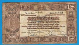 HOLANDA - Netherlands - Pays-Bas = 1 Gulden 1938  P-61  Serie R  (roturas) - 1  Florín Holandés (gulden)