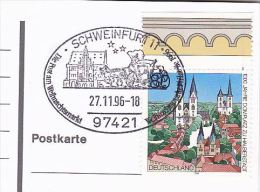 1996 Cover (card) HORSE DRAWN COACH CHRISTMAS MARKET  EVENT Pmk Schweinfurt GERMANY Stamps Horses Stage Coach - Christmas