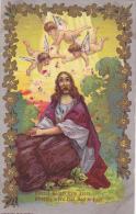 Blessed Gospel From Above Bringing Word That God Is Love, Angels Flying Over Jesus, Flowers, Gold Detail, 10-20s - Jesus