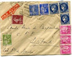 FRANCE LETTRE PAR AVION DEPART SEMUR 27-11-38 ARRIVEE DJIBOUTI 3 DEC 38 COTE Fse DES SOMALIS - 1927-1959 Briefe & Dokumente