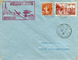 FRANCE LETTRE AVEC GRIFFE ROSE LIGNE POSTALE AERIENNE PARIS-NICE INAUGURATION 16 FEVRIER 1938 - 1927-1959 Briefe & Dokumente