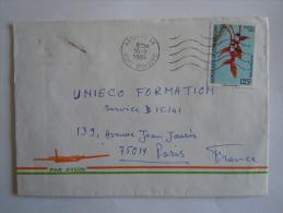 Ivoorkust Côte D'Ivoire Lettre Brief Cover 1984 Pour La France Fleur Bloem Heliconia Rostrata Yv 675A - Ivory Coast (1960-...)