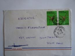 Ivoorkust Côte D'Ivoire Lettre Brief Cover 1984 Pour La France Araignée Spin Yv 681 - Ivory Coast (1960-...)
