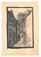 Dessin à L'encre De Chine De G. Lallemand 1952 - Rue, Ruelle, Venelle - Certainement Une Copie  ?? (b122) - Autres Collections