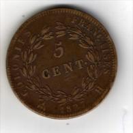 EMISSIONS GENERALES POUR LES COLONIES - 5 CENTIMES Des Colonies De Françaises - 1827 H - Frappé Martinique - Guadeloupe - Colonies