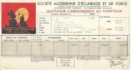 QUITTANCE D´ABONNEMENT AU COMPTEUR-Sété ALGERIENNE D´ECLAIRAGE ET DE FORCE Oran Algerie - France