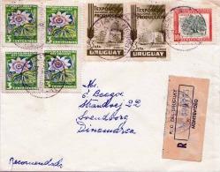 1956, URUGUAY, R-Brief Mit Sehr Schöner 7fach Frankierung, Gel.v. Montevideo N. Svendborg/Dänemark - Uruguay