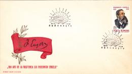 FRIEDERICH ENGELS,LEADER COMMUNIST,1970,COVER FDC,ROMANIA - Celebrità