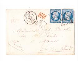 20c De  Rouen Pour Geneve PD En Rouge - 1862 Napoleon III