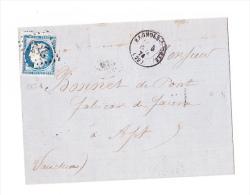 Ceres 25c Sur Envelloppe - 1871-1875 Cérès
