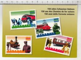 SBB CFF FFS ° 150 Ans Des Chemins De Fer Suisses - 150 Jahre Schweizer Bahnen - 150 Anni Delle Ferrovie Svizzerre - Timbres (représentations)