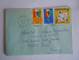 Ivoorkust Côte D'Ivoire Lettre Brief Cover 1984 Pour La France Drapeau Et éléphant Télécommunications  Yv 666 641 686 - Ivoorkust (1960-...)