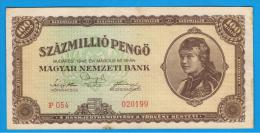 HUNGRIA - HUNGARY -  100.000.000 Pengo 1946  P-124  Serie P054 - Hungría