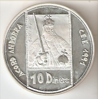 MONEDA DE PLATA DE ANDORRA DE 10 DINERS AÑO 1991 DEL ACORD D'ANDORRA CON LA C.E.E SILVER-ARGENT - Andorra