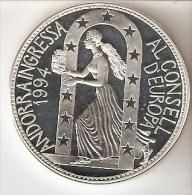 MONEDA DE PLATA DE ANDORRA DE 10 DINERS AÑO 1995 DEL INGRESO EN EL CONSEJO DE EUROPA (SILVER-ARGENT) - Andorra
