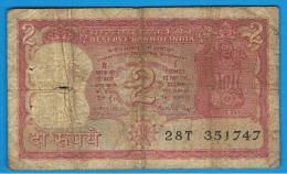 INDIA - 2 Rupias ND  Serie 28T  Rotura - India