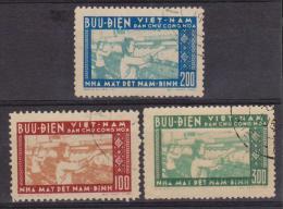 VIETNAM  DU  NORD  FILATURE  YVERT N°115/7   OBL. - Viêt-Nam