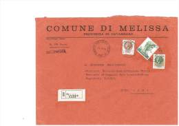 MELISSA - 88070 - PROV. CATANZARO - R - FORMATO 18X24 - TEMA TOPIC COMUNI D´ITALIA - STORIA POSTALE - Marcophilie - EMA (Empreintes Machines)