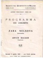 PROGRAMMA CONCERTO MILANO - VIOLONCELLO - ZARA  E PIANOFORTE - BALSAN - 1963 - Muziek