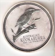 MONEDA DE PLATA DE AUSTRALIA DE 1 ONZA DEL AÑO 2003 KOOKABURRA (SILVER-ARGENT) PAJARO-BIRD - Australia