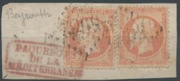 Lot N°22314   Deux N°23/Fragment, Oblit GC étranger 5082 BEYROUTH (Syrie), Cachet Rouge PAQUEBOTS De La MEDITERRANEES - 1862 Napoléon III