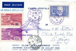FRANCE CARTE PAR AVION  AVEC VIGNETTES CLUB JEAN MERMOZ JOURNEE D'AVIATION DU 24 JUILLET 1938 - 1927-1959 Briefe & Dokumente