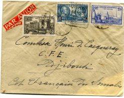 FRANCE LETTRE PAR AVION DEPART SEMUR 9-7-39  ARRIVEE DJIBOUTI 15 JUIL. 39 COTE Fse DES SOMALIS - 1927-1959 Briefe & Dokumente