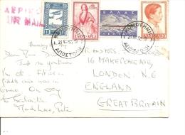 Grèce( CP Par Avion De 1953 Vers La Grande-Bretagne - Voir Vignette D'avion Privée De Turquie- ) - Lettres & Documents