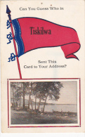 Can You Guess Who In Tiskilwa 1914 Pennant Flag - Saluti Da.../ Gruss Aus...